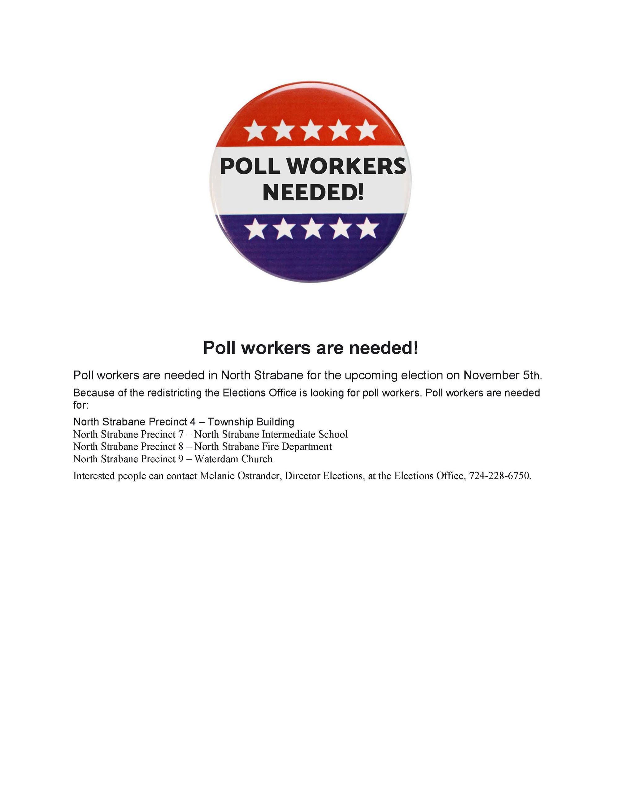 Poll workers are needed