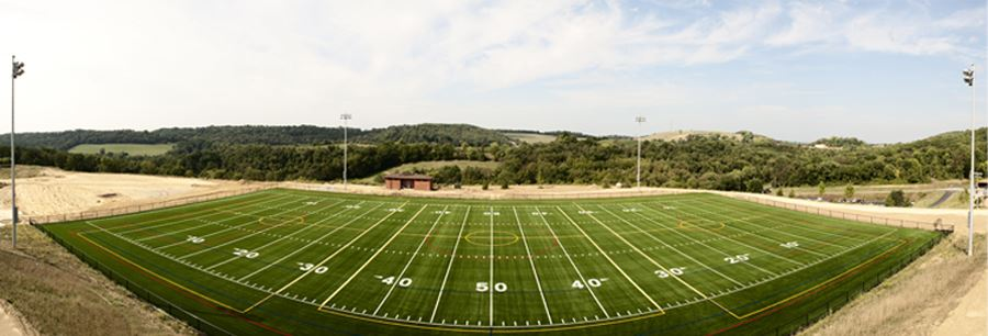 Panoramic Shot of Football Field from the 50 Yard Line